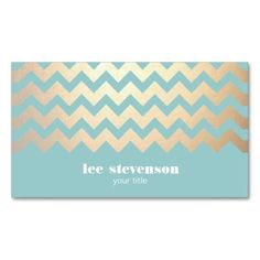 FAUX Gold Foil Chevron Pattern and Turquoise Blue Business Cards #businesscards #stationery #papergoods