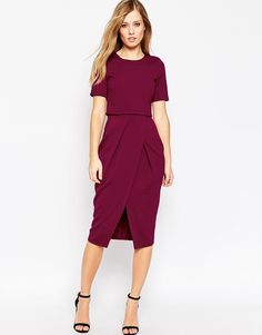Image 1 of ASOS Double Layer Textured Wiggle Dress