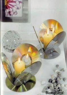 Porta-vela hecha con CD: