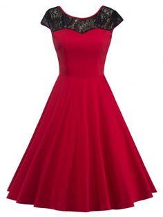 GET $50 NOW | Join RoseGal: Get YOUR $50 NOW!http://m.rosegal.com/vintage-dresses/lace-back-v-hidden-zip-dress-845561.html?seid=7495766rg845561