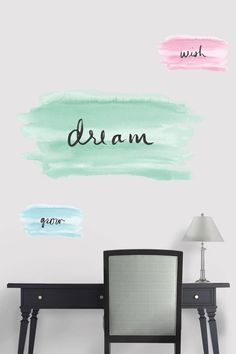 "Watercolor with Words includes three decals: the large size in jade reads ""dream"", the small size in turquoise reads ""grow"", and the small size in coral reads ""wish"". Create moments of chic inspiration by hanging these vinyl wall decals in your living room, office, or studio. Place them in the bedroom to start each day on a positive note! SHOP @marthastewart http://www.fathead.com/martha-stewart/decorative-accents/watercolor-with-words-wall-decal/ 