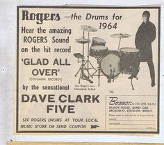 DAVE CLARK FIVE - ROGERS DRUMS Press Clipping 1964 15x13cm (3/1/64)