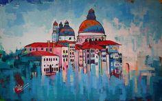 Dit is het tweede kleurrijke schilderij van de stad Venetië. De lucht boven de stad in dit grote schilderij is met verschillende tinten blauw en wit opgemaakt. Tegen de lichte lucht steken de kleurrijke gebouwen, die met een verscheidenheid aan kleuren zijn opgebouwd, mooi af.De rivier smelt samen met de lucht en de gebouwen door middel van losse penseelstreken.