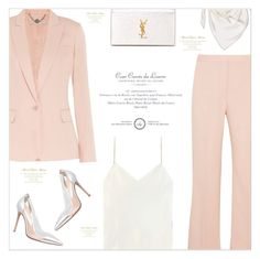 """""""The Pantsuit * contest *"""" by monazor ❤ liked on Polyvore featuring STELLA McCARTNEY, Calvin Klein Collection, Gianvito Rossi, Yves Saint Laurent, Hermès, StellaMcCartney, womenfashion, pantsuit and pinkandwhite"""