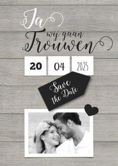 Stijlvolle kaart met een mooie foto van jullie beiden en datum duidelijk op je trouwkaart! Veel plezier met het maken : )