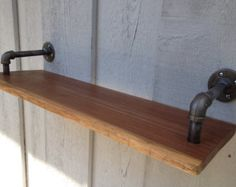 "Reclaimed Raw Edge Walnut Shelf with Contemporary Steel Pipe Brackets (30"" length)"