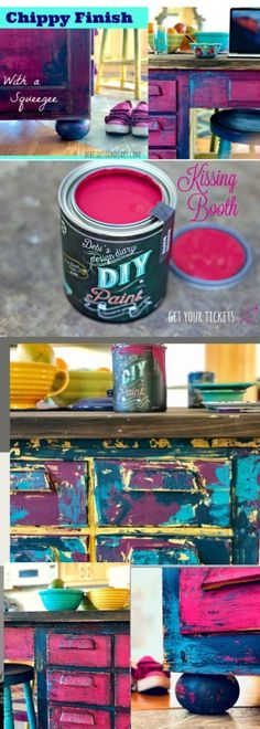 Chippy Layered Paint Finish using a Squeegee, Putty Knife & Spray Bottle