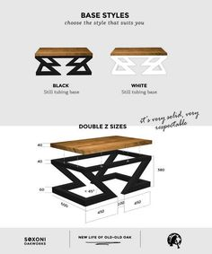 Modern coffee table Double Z by Soxoni wooden furniture Etsy