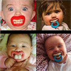 Four babies with pacifiers in the shape of odd lips and teeth.