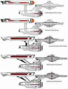 USS Enterprise Constitution class evolution - Star Trek (TOS) & Star Trek Movie 1-VI