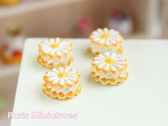 French Sablé Chantilly Marguerite - Cream-Filled Daisy Cookies in 12th Scale - Handmade Dollhouse Miniature Food. $18.00, via Etsy.