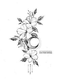 Flowers&Moon by Arlette Beerenfenger - flowe.- Flowers&Moon by Arlette Beerenfenger – flower tattoos Flowers&Moon by Arlette Beerenfenger - Finger Tattoos, Body Art Tattoos, Sleeve Tattoos, Tattoo Art, Small Flower Tattoos, Small Tattoos, Tattoo Flowers, Hawaiian Flower Tattoos, Hibiscus Flower Tattoos