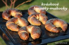 "Kváskové loupáky-makovky jako za ""starých dobrých časů"" - My site Bread And Pastries, Ciabatta, No Bake Cake, Bagel, Food And Drink, Menu, Sweets, Lunch, Baking"