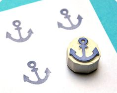 Anchor - Special Summer hand carved rubber stamps by MemiTheRainbow on Etsy