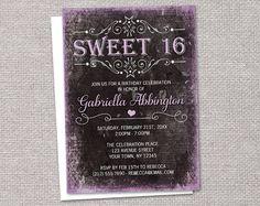 Black Grunge Sweet 16 Invitations  Printed by ArtisticallyInvited