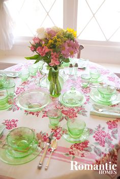 green depression glass table setting http://www.ourmindandbody.com/depression/7-signs-of-depression-in-women/