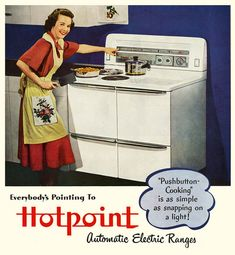 I think Grandma's electric stove had push buttons. Strangely enough, it also had a soup pot holder on the left back burner. Grandma often made soup using it.