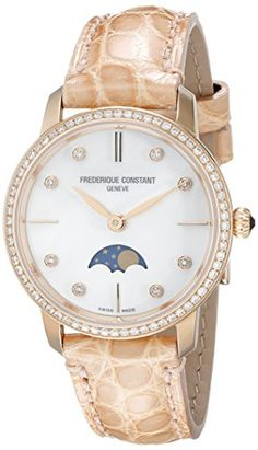 Women's Wrist Watches - Frederique Constant Womens FC206MPWD1SD9 Slim Line Analog Display Swiss Quartz Beige Watch * Read more at the image link.