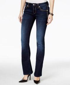 Miss Me Metallic-Stitch Bootcut Dark Blue Wash Jeans