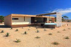 Symmetrical Plantings in the Sand, Modern Beach House, Santos Todos, Baja, Mexico