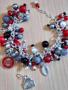 Jewelry Ideas, Diy Jewelry, Unique Jewelry, Football Bracelet, Christmas Gifts, Xmas, Ohio State Buckeyes, Scarlet, Bling