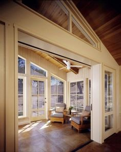 vaulted, but use beams, love the windows with mullions but still not too fussy & interfering with the view