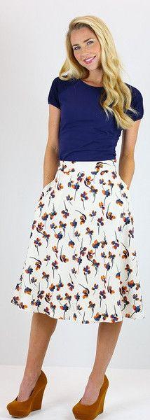 Cream Floral Circle Skirt