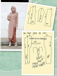 53 ideas dress pattern tunic inspiration for 2019 Kebaya Hijab, Kebaya Brokat, Kebaya Dress, Hijab Dress, Blouse Dress, Hijab Outfit, Batik Fashion, Fashion Sewing, Hijab Fashion