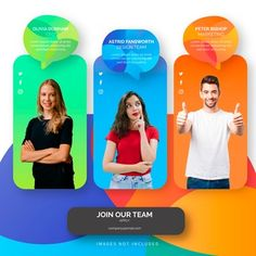Join our team template with colorful shapes Free Vector 3d Geometric Shapes, Geometric Background, Orange Background, Vector Background, Design Plat, Web Design, Website Design Inspiration, Graphic Design Inspiration, Web Layout