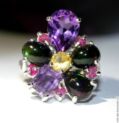 "Купить Кольцо ""Мagic flower"" опал - кольцо серебряное, кольцо опал, огненный опал"