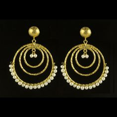Triple Hoop Earrings Pearl, $32, now featured on Fab. Not usually a big fan of gold, but these are lovely!