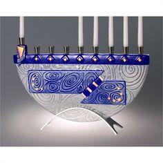 Beames Designs Menorah Nova Cobalt Blue JM50, Artistic Artisan Designer Judaica