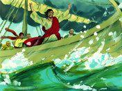 Free Bible illustrations at Free Bible images of Jesus calming a storm on Lake Galilee. (Matthew 8:23-27, Mark 4:35-41, Luke 8:22-25)