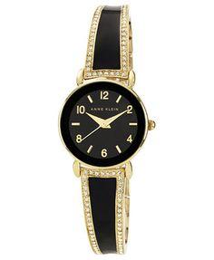 Anne Klein Watch, Women's Black Enamel and Gold-Tone Bangle Bracelet 24mm AK-1028BKGB