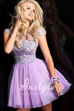 Cap Sleeves Boat Neckline Short Prom Dress with Heavily Beaded and Sequined Bodice