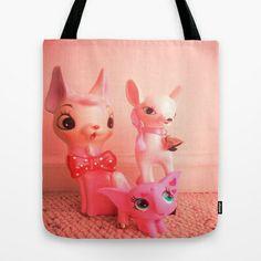 pink deer and elephant Tote Bag by Vintage  Cuteness - $22.00#pink #vintage #pastel ##pink #vintage #pastel #bambi #doe #deer #fawn #feminine #kitsch #childrens #tote #bag #fashion