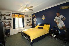 a soccer bedroom--filing cabinets for a dresser?  Gives that locker room feel... hmmm.
