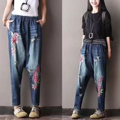 Buy Street Fashion Rose Embroidery Harem Pants Loose Ripped Jeans in Jeans online shop, Morimiss offers Jeans to make you feel comfortable Loose Jeans Outfit, Aladdin Pants, Rose Embroidery, Embroidery Ideas, Baggy Clothes, Harem Pants, Denim Pants, Jean Outfits, Street Wear