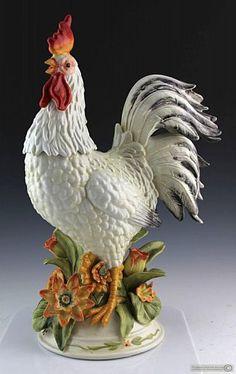 Florida Estate Sale Online Auction | May 21st 2015 Ceramic Rooster, Ceramic Pottery, Pottery Art, Ceramic Chicken, Rooster Kitchen Decor, Victorian Decor, Metal Art, Farmhouse Decor, Auction