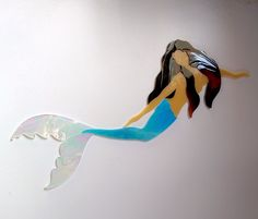 MERMAID SEA FAIRY Precut Stained Glass Art Mosaic Inlay Kit. Ready for use in your mosaic project.