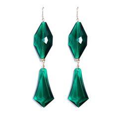 Lucy Earrings-Emerald   Liz Law