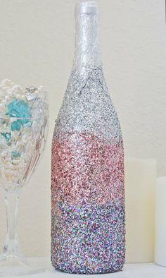Glittered Valentine's Day Wine Bottle Vase DIY.