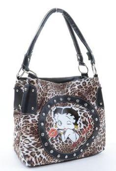 Amazon.com: Brown Leopard Betty Boop Rhinestone Detail Handbag Purse: Clothing
