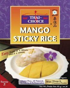 Contenance85 g netDescription du produitLe riz gluant sucré est garni de crème de noix de coco tiède, infusé avec du sucre de canne et de la mangue mure. Un véritable dessert thaï pour deux personnes dans vos assiettes !Conseil d'utilisationMettre le riz gluant dans un bol micro-ondable, y ajouter 160 ml d'eau, couvrez et mettez au four micro-onde pendant 4 minutes. Sortez le bol et y ajouter la crème de coco en poudre et la mangue lyophilisée.IngrédientsRiz gluant cuisiné déshydraté, mangue…