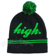 "A black, knitted beanie with the word ""high"" written in green script across the front. Two green stripes line the beanie's cuff."