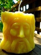 wood spirit old man bees wax candle gift by CANDLESOAPHOMEMADE, $18.99