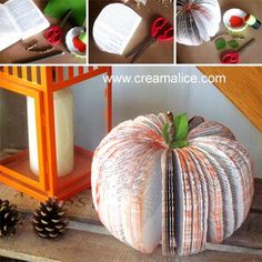 {DiY} Pumpkin Recovery with an old paperback - Art with paper - Diy Halloween Books, Bricolage Halloween, Halloween Paper Crafts, Halloween Activities, Halloween Pumpkins, Pumpkin Books, Diy Pumpkin, Pumpkin Crafts, Deco Haloween