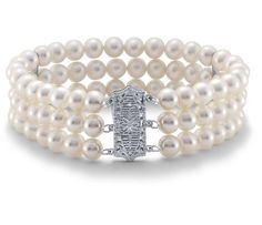 Triple-Strand Freshwater Cultured Pearl Bracelet with 14k White Gold | #Jewelry #Pearl #Accessories