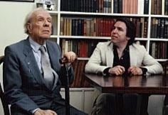 """Borges todo el año: Jorge Luis Borges-Osvaldo Ferrari: El Poema conjetural (""""En diálogo"""", II, 64) Foto: Borges en su casa con Osvaldo Ferrari"""