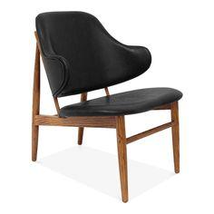 Cult Living Chaise Bergère Décorative Easy, Recouvrement Faux Cuir, Noir